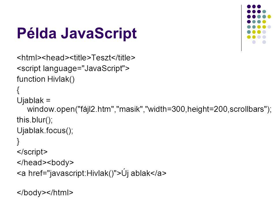 Példa JavaScript <html><head><title>Teszt</title> <script language= JavaScript > function Hivlak()