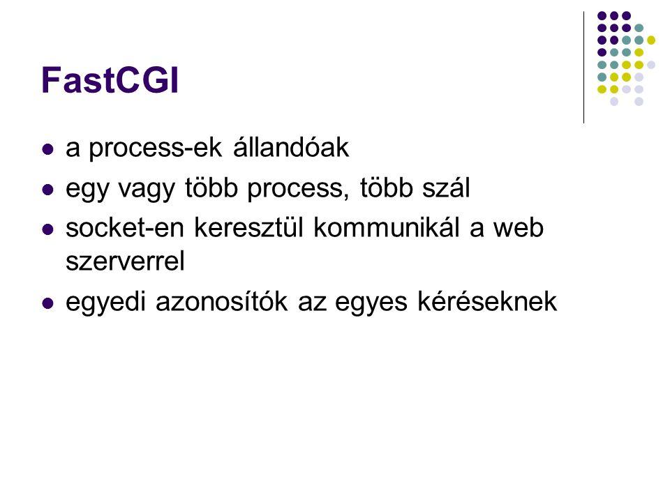 FastCGI a process-ek állandóak egy vagy több process, több szál