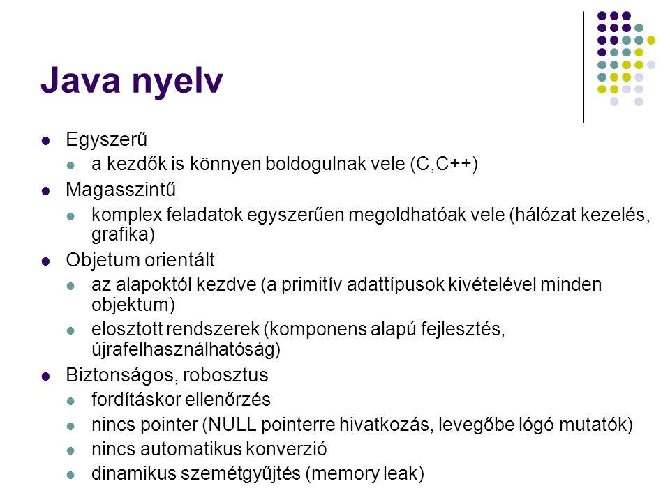 Java nyelv Egyszerű Magasszintű Objetum orientált