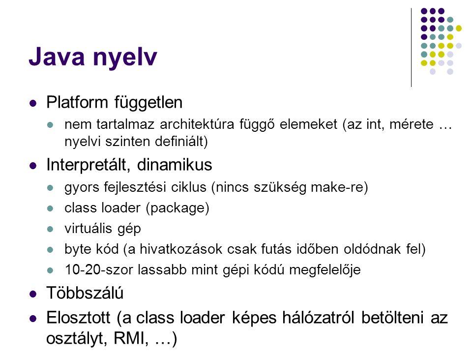 Java nyelv Platform független Interpretált, dinamikus Többszálú