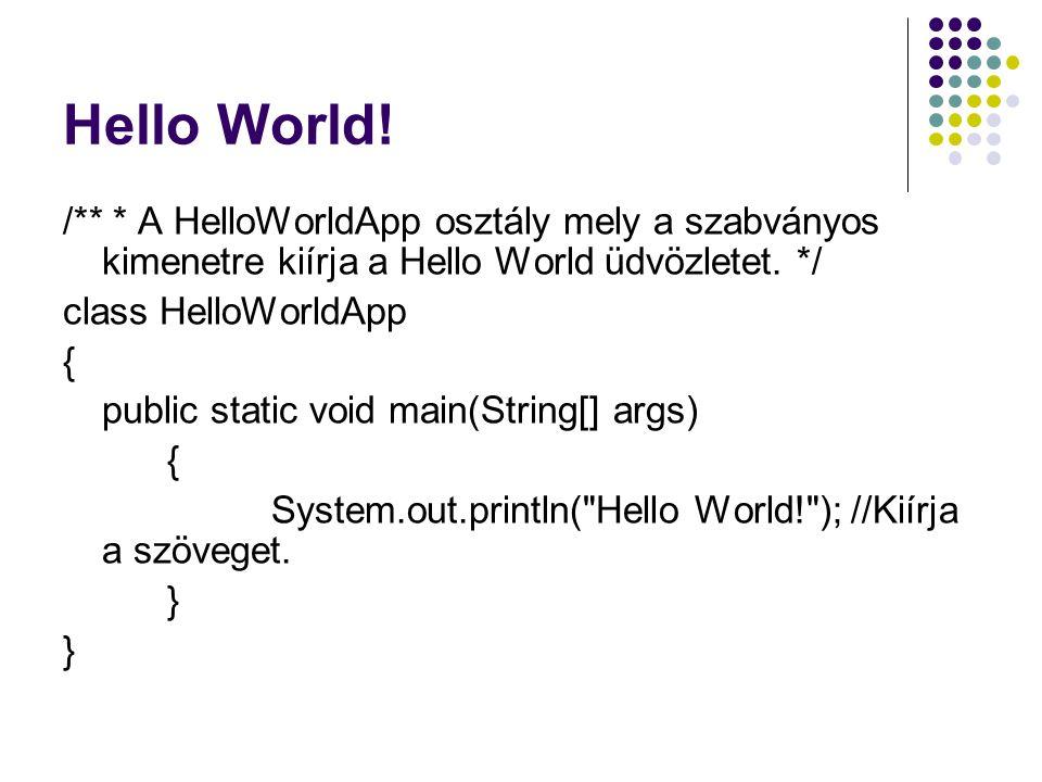 Hello World! /** * A HelloWorldApp osztály mely a szabványos kimenetre kiírja a Hello World üdvözletet. */