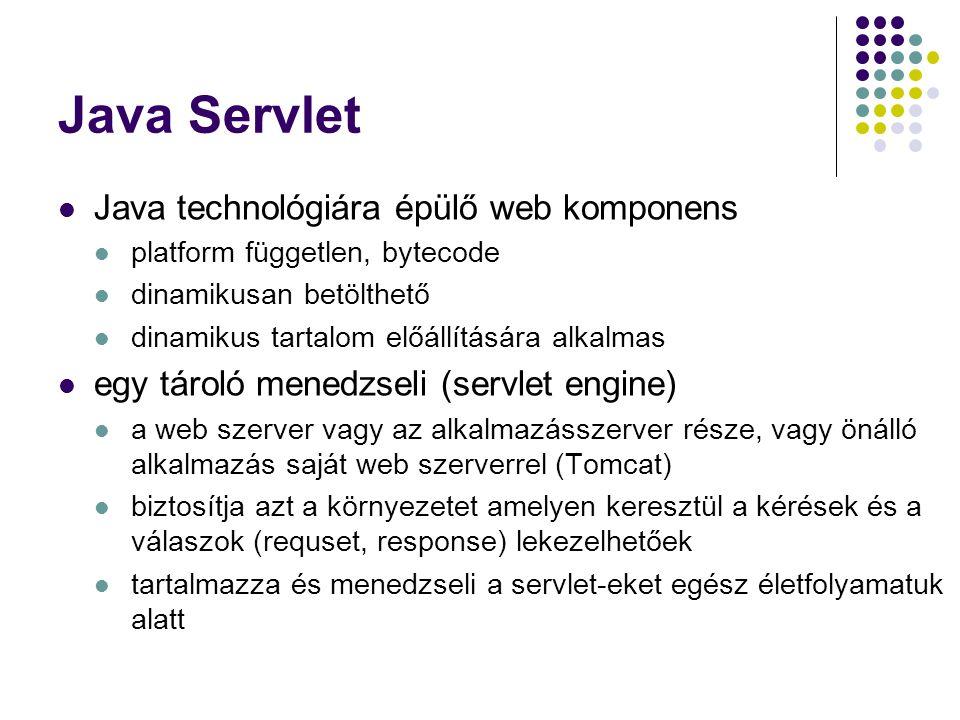 Java Servlet Java technológiára épülő web komponens