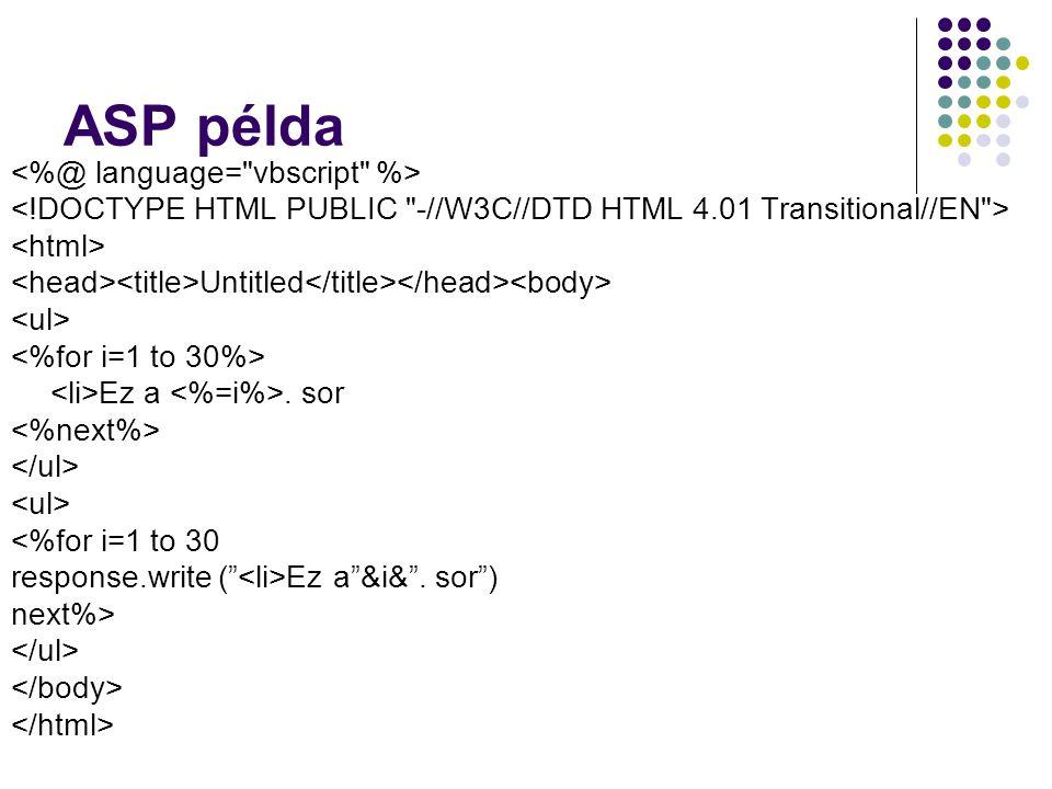 ASP példa <%@ language= vbscript %>