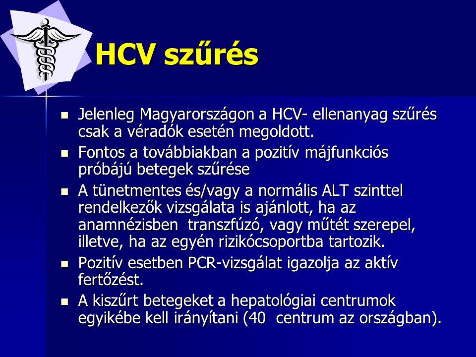 HCV szűrés Jelenleg Magyarországon a HCV- ellenanyag szűrés csak a véradók esetén megoldott.