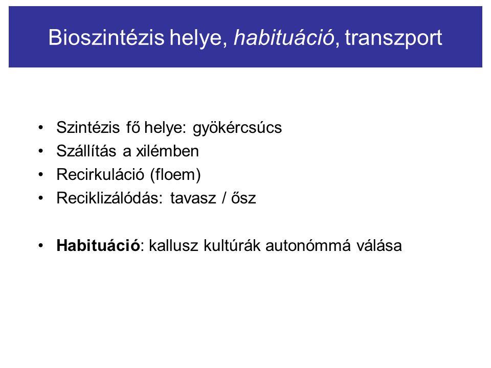 Bioszintézis helye, habituáció, transzport