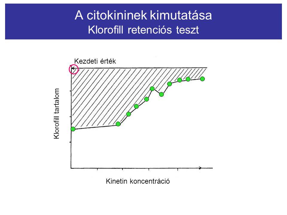 A citokininek kimutatása Klorofill retenciós teszt