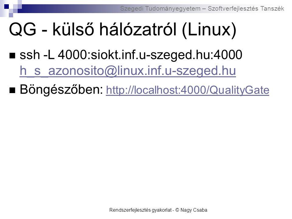 QG - külső hálózatról (Linux)