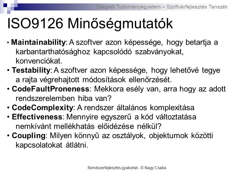ISO9126 Minőségmutatók • Maintainability: A szoftver azon képessége, hogy betartja a karbantarthatósághoz kapcsolódó szabványokat, konvenciókat.