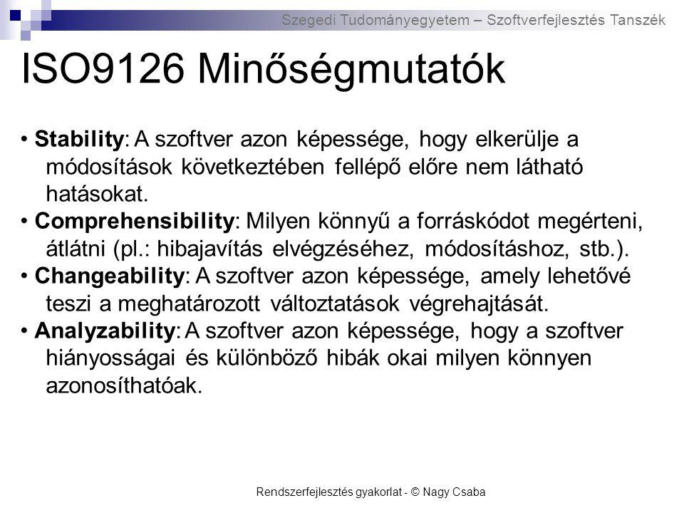 ISO9126 Minőségmutatók • Stability: A szoftver azon képessége, hogy elkerülje a módosítások következtében fellépő előre nem látható hatásokat.