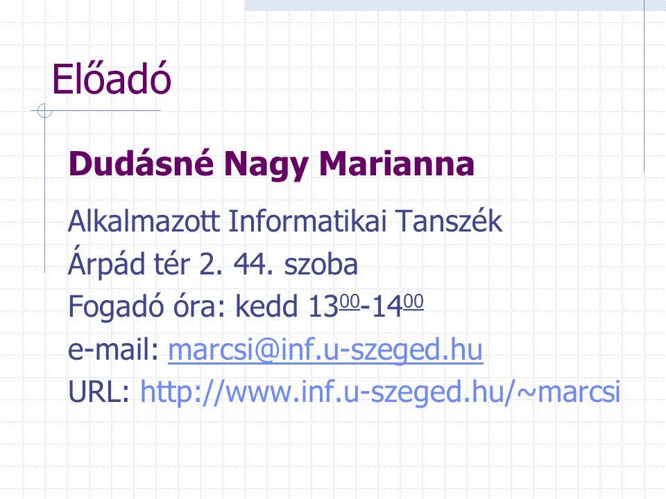 Előadó Dudásné Nagy Marianna Alkalmazott Informatikai Tanszék