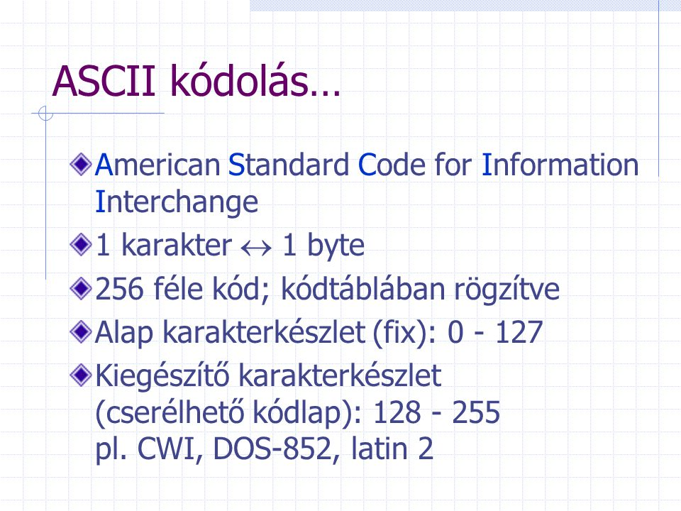 ASCII kódolás… American Standard Code for Information Interchange