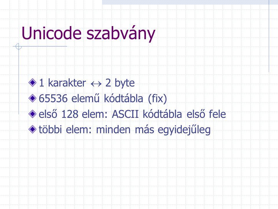 Unicode szabvány 1 karakter  2 byte 65536 elemű kódtábla (fix)