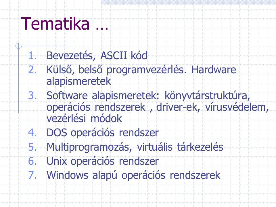 Tematika … Bevezetés, ASCII kód