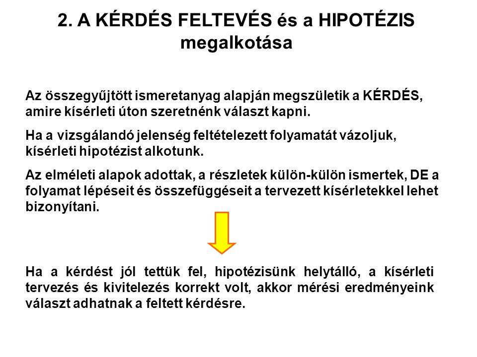 2. A KÉRDÉS FELTEVÉS és a HIPOTÉZIS megalkotása
