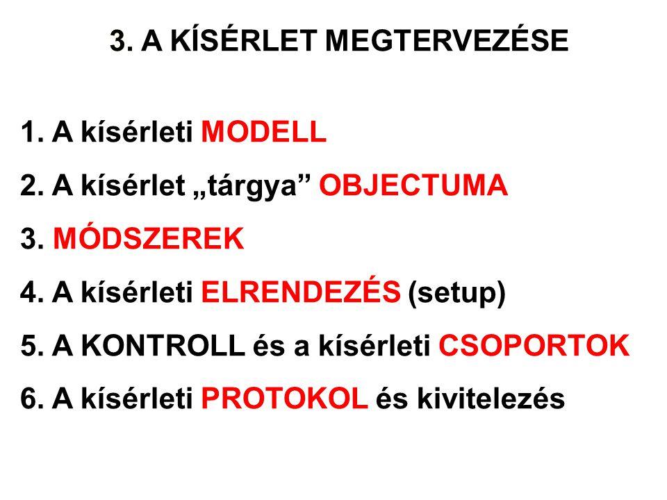 """3. 3. A KÍSÉRLET MEGTERVEZÉSE. 1. A kísérleti MODELL. 2. A kísérlet """"tárgya OBJECTUMA. 3. MÓDSZEREK."""