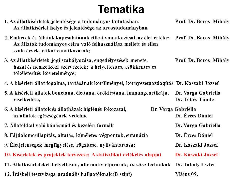 Tematika 1. Az állatkísérletek jelentősége a tudományos kutatásban; Prof. Dr. Boros Mihály.