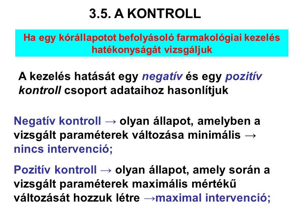 3.5. A KONTROLL Ha egy kórállapotot befolyásoló farmakológiai kezelés hatékonyságát vizsgáljuk.