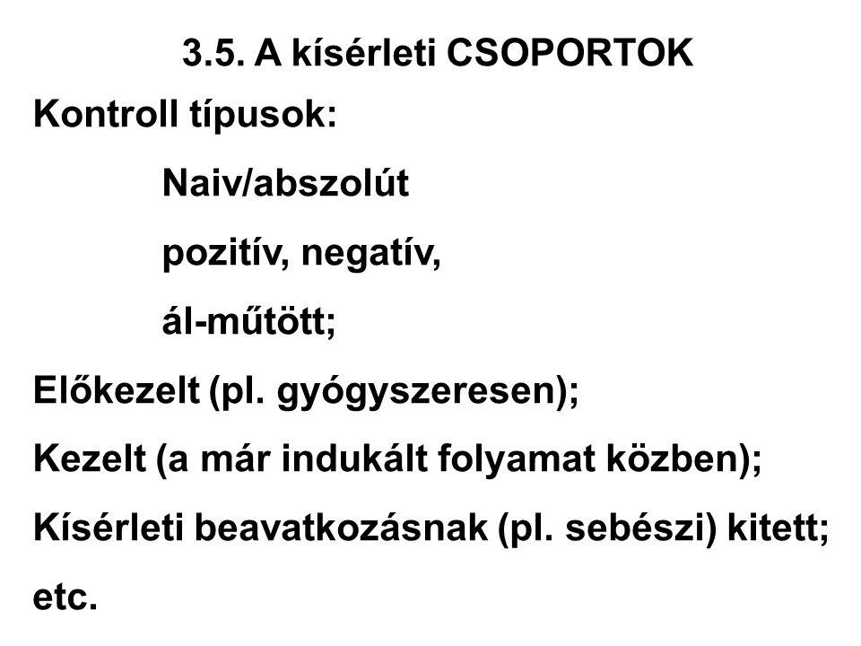 3.5. A kísérleti CSOPORTOK Kontroll típusok: Naiv/abszolút. pozitív, negatív, ál-műtött; Előkezelt (pl. gyógyszeresen);