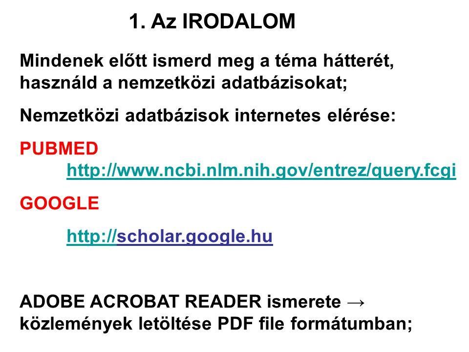 1. Az IRODALOM Mindenek előtt ismerd meg a téma hátterét, használd a nemzetközi adatbázisokat; Nemzetközi adatbázisok internetes elérése: