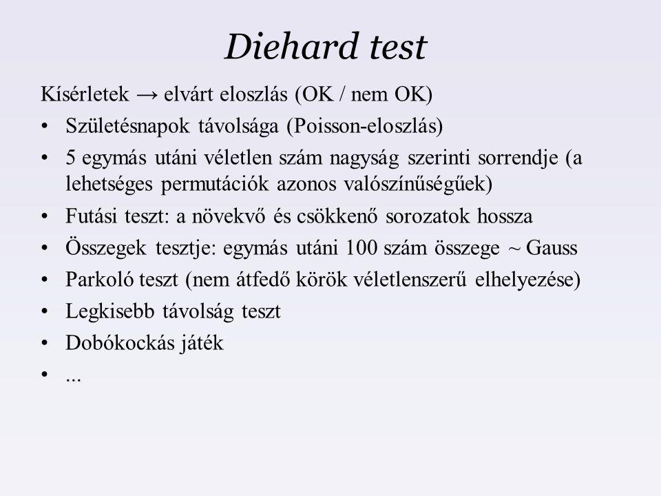 Diehard test Kísérletek → elvárt eloszlás (OK / nem OK)