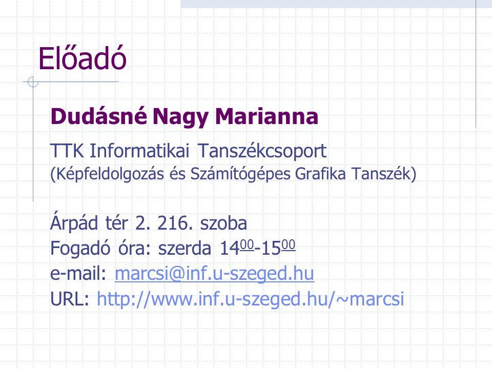 Előadó Dudásné Nagy Marianna TTK Informatikai Tanszékcsoport