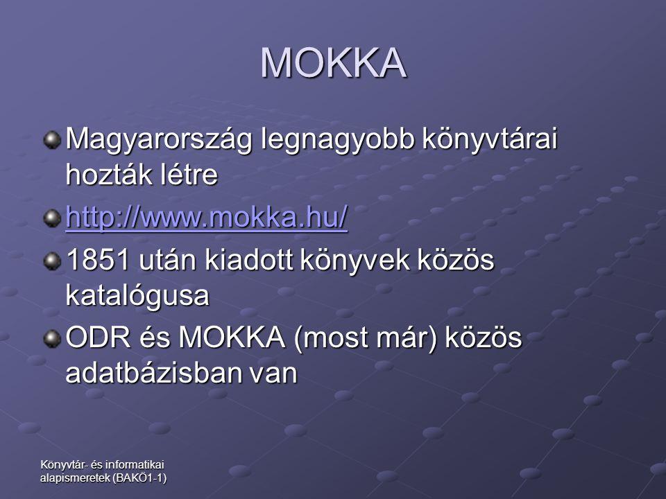 MOKKA Magyarország legnagyobb könyvtárai hozták létre