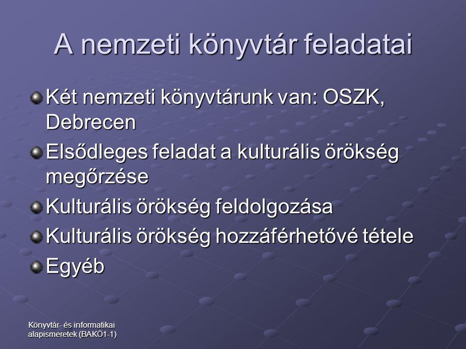 A nemzeti könyvtár feladatai