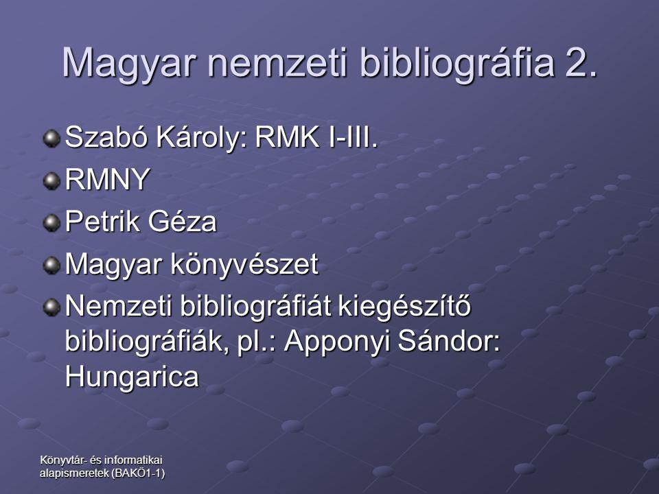 Magyar nemzeti bibliográfia 2.