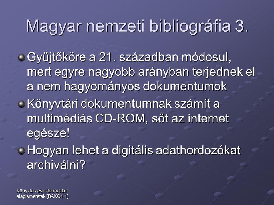 Magyar nemzeti bibliográfia 3.