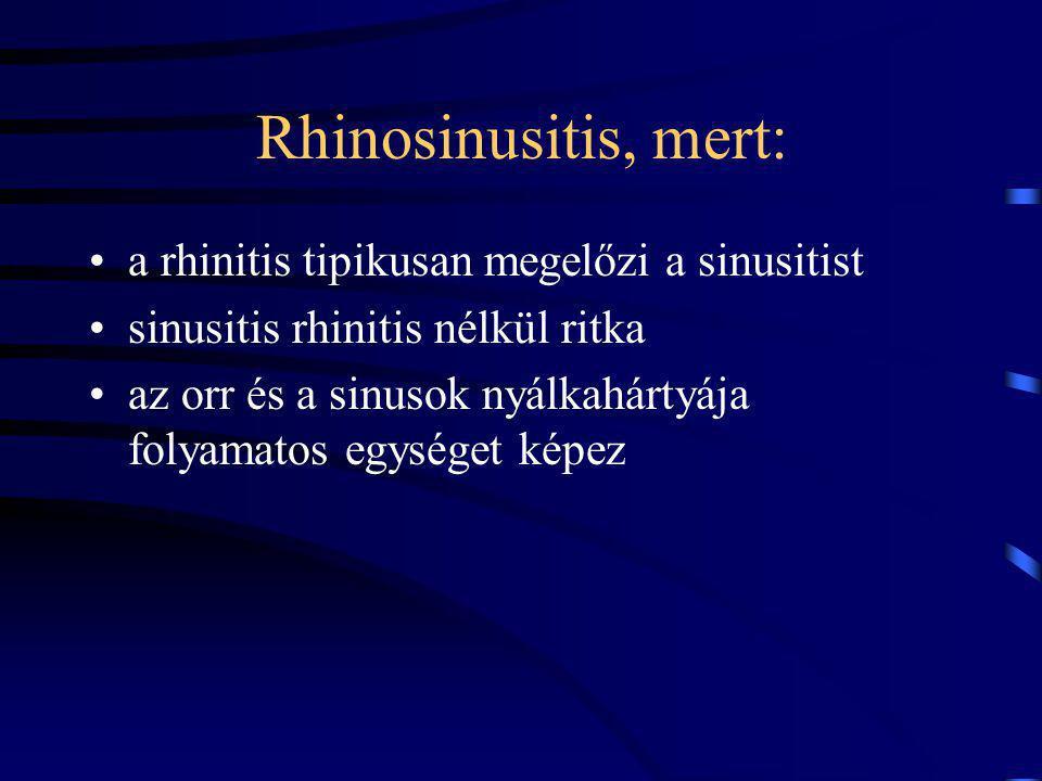 Rhinosinusitis, mert: a rhinitis tipikusan megelőzi a sinusitist