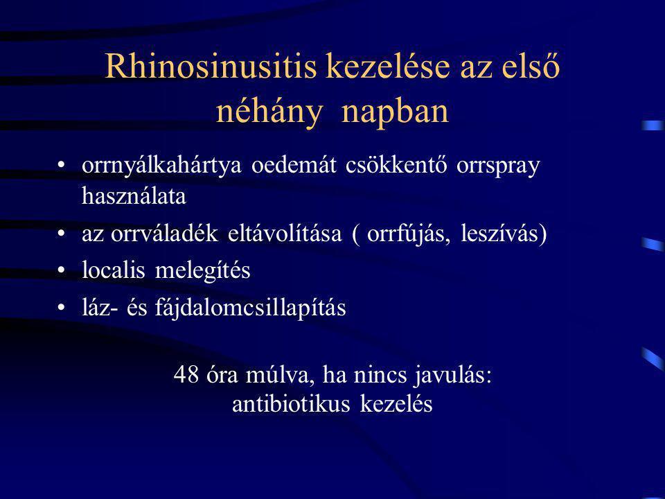 Rhinosinusitis kezelése az első néhány napban