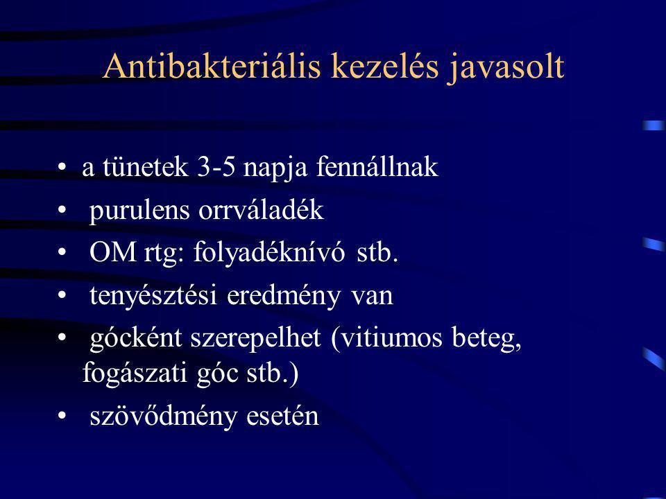 Antibakteriális kezelés javasolt