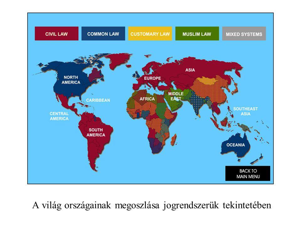 A világ országainak megoszlása jogrendszerük tekintetében