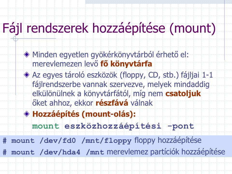 Fájl rendszerek hozzáépítése (mount)
