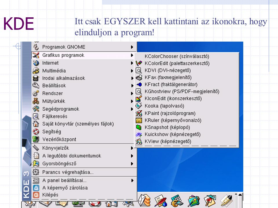 KDE Itt csak EGYSZER kell kattintani az ikonokra, hogy elinduljon a program!