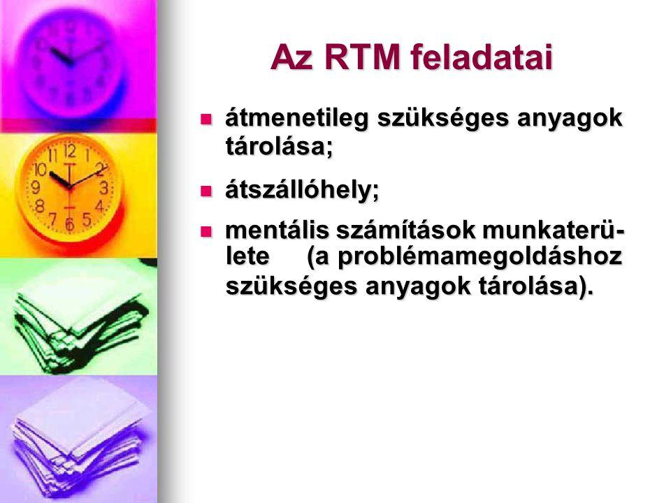 Az RTM feladatai átmenetileg szükséges anyagok tárolása; átszállóhely;