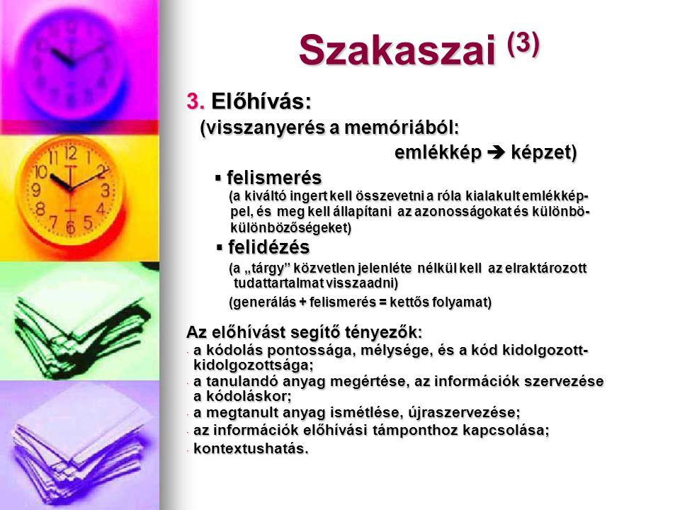 Szakaszai (3) 3. Előhívás: (visszanyerés a memóriából: