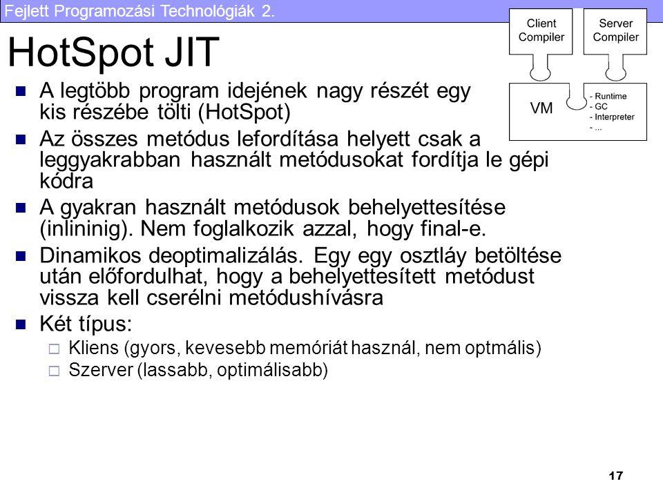 HotSpot JIT A legtöbb program idejének nagy részét egy kis részébe tölti (HotSpot)