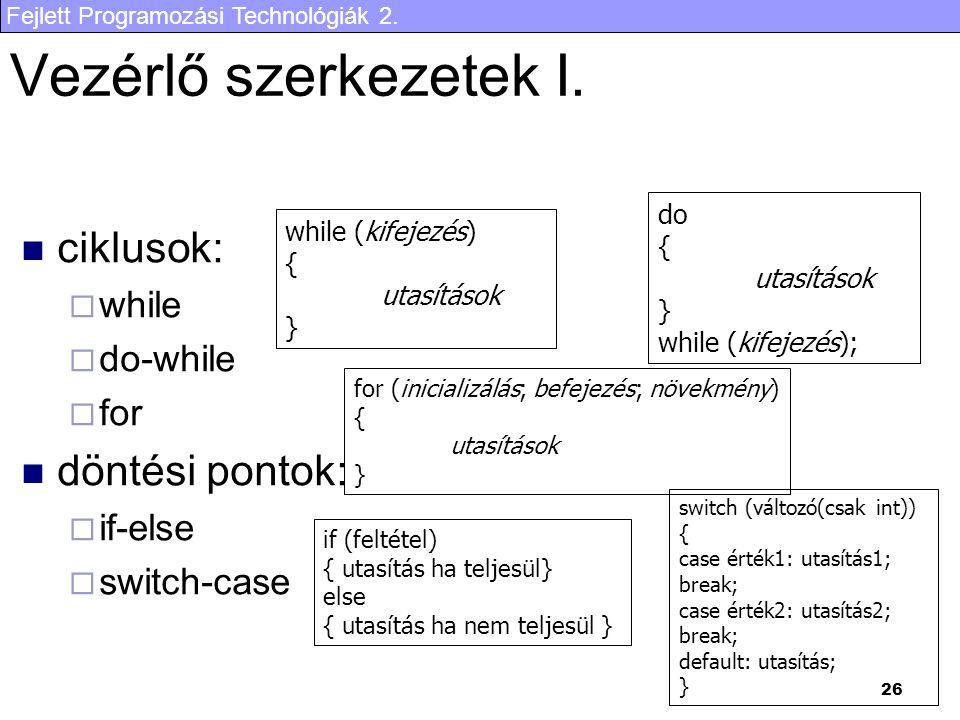 Vezérlő szerkezetek I. ciklusok: döntési pontok: while do-while for