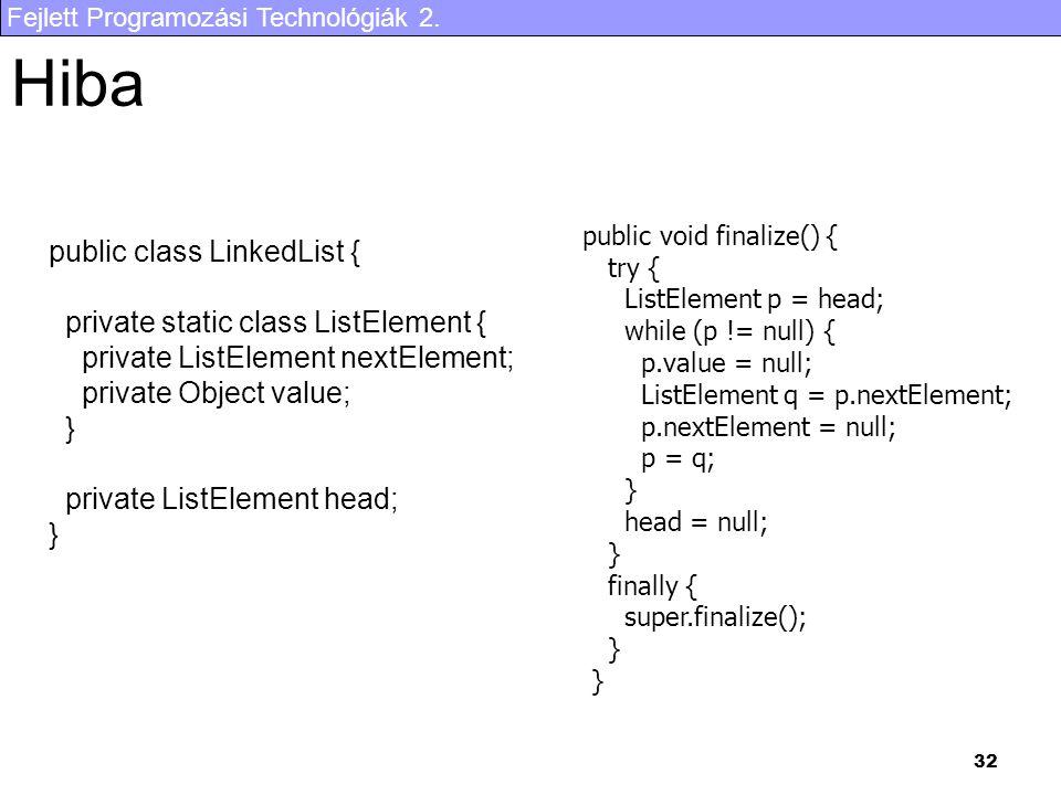 Hiba public class LinkedList { private static class ListElement {