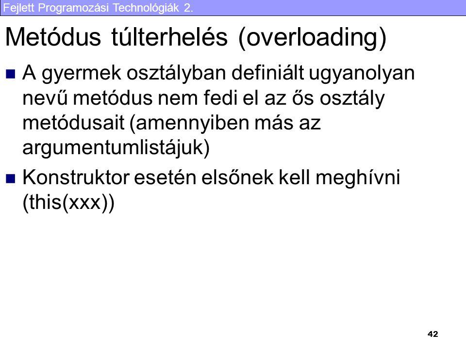 Metódus túlterhelés (overloading)