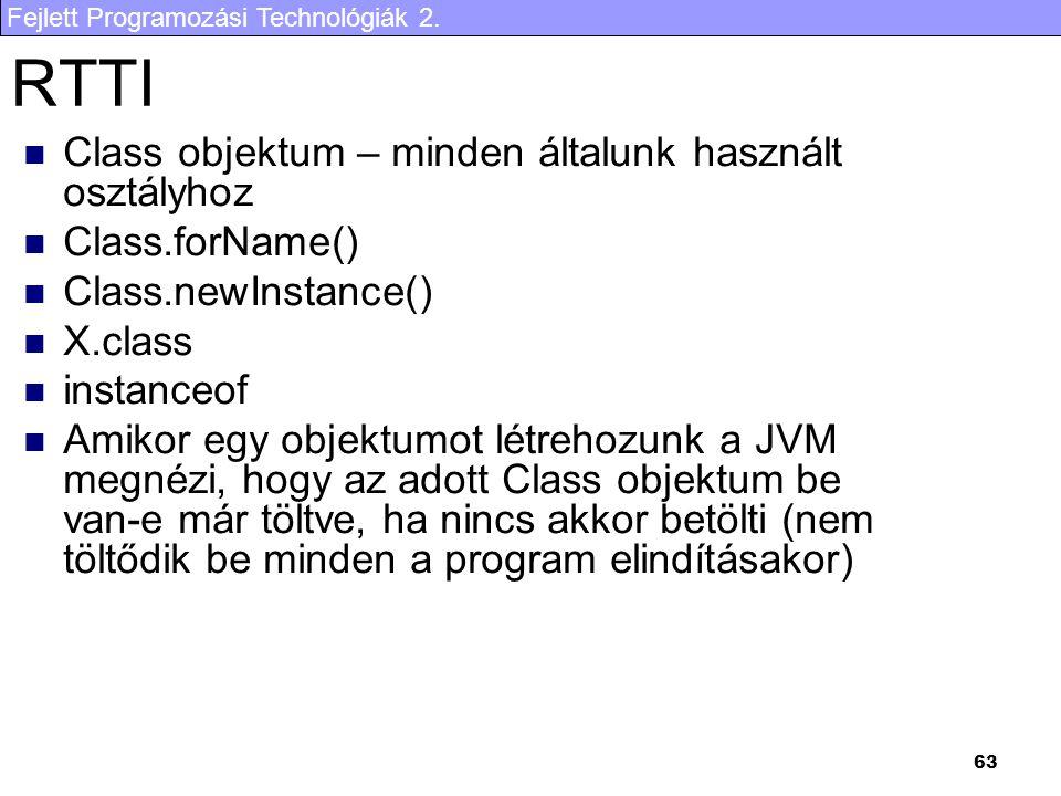 RTTI Class objektum – minden általunk használt osztályhoz