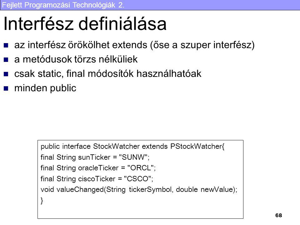 Interfész definiálása