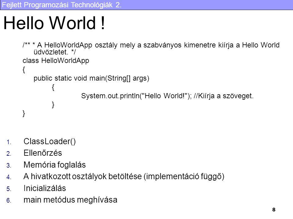 Hello World ! ClassLoader() Ellenőrzés Memória foglalás