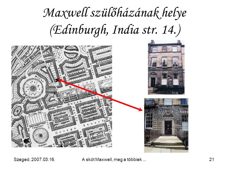 Maxwell szülőházának helye (Edinburgh, India str. 14.)
