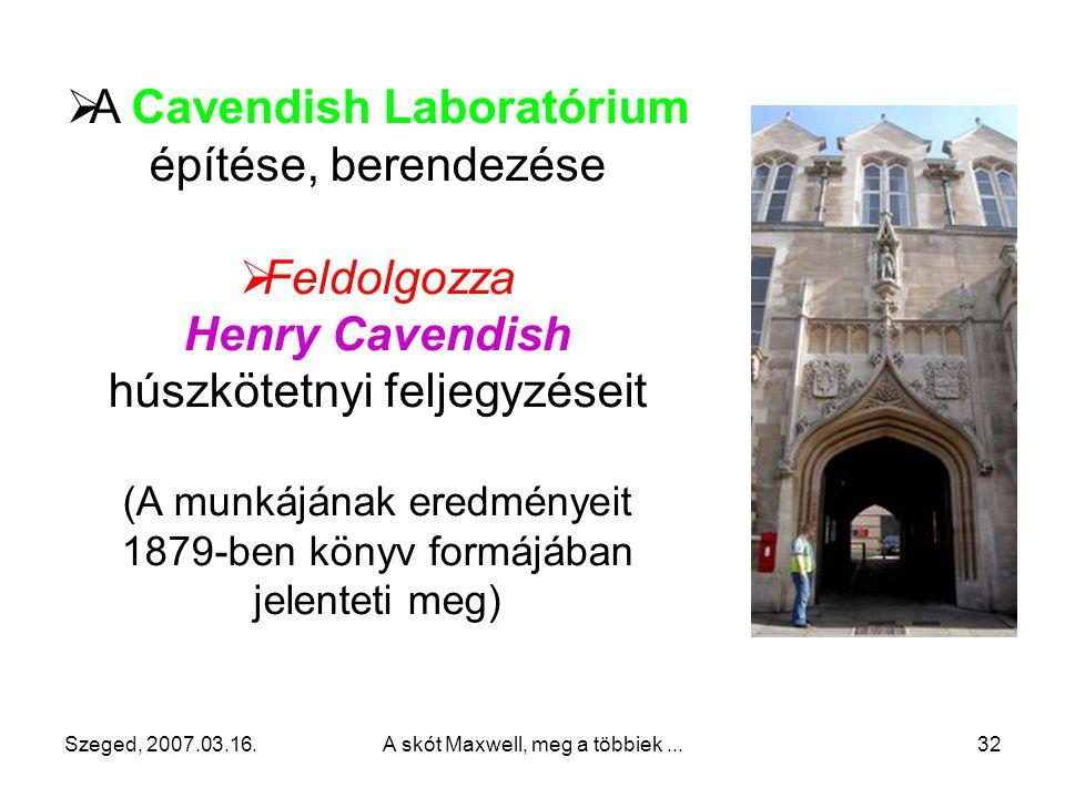 A Cavendish Laboratórium építése, berendezése