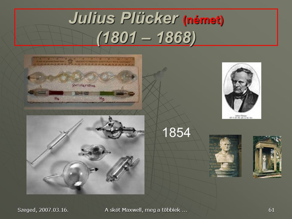 Julius Plücker (német) (1801 – 1868)