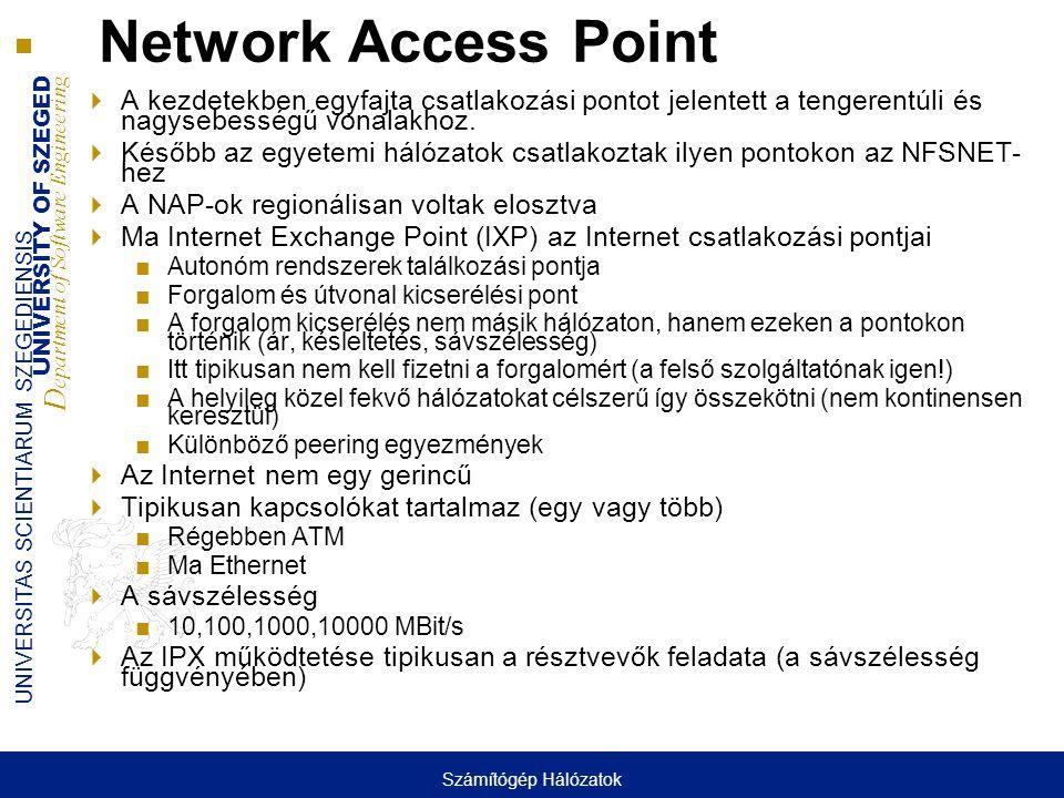 Network Access Point A kezdetekben egyfajta csatlakozási pontot jelentett a tengerentúli és nagysebességű vonalakhoz.