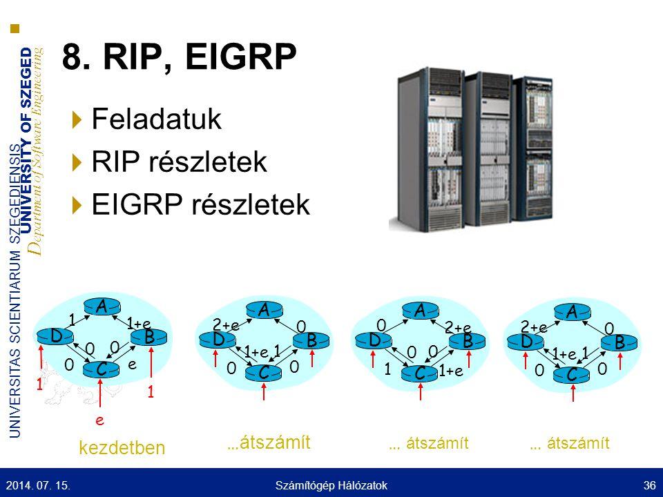 8. RIP, EIGRP Feladatuk RIP részletek EIGRP részletek A A D C B A A D