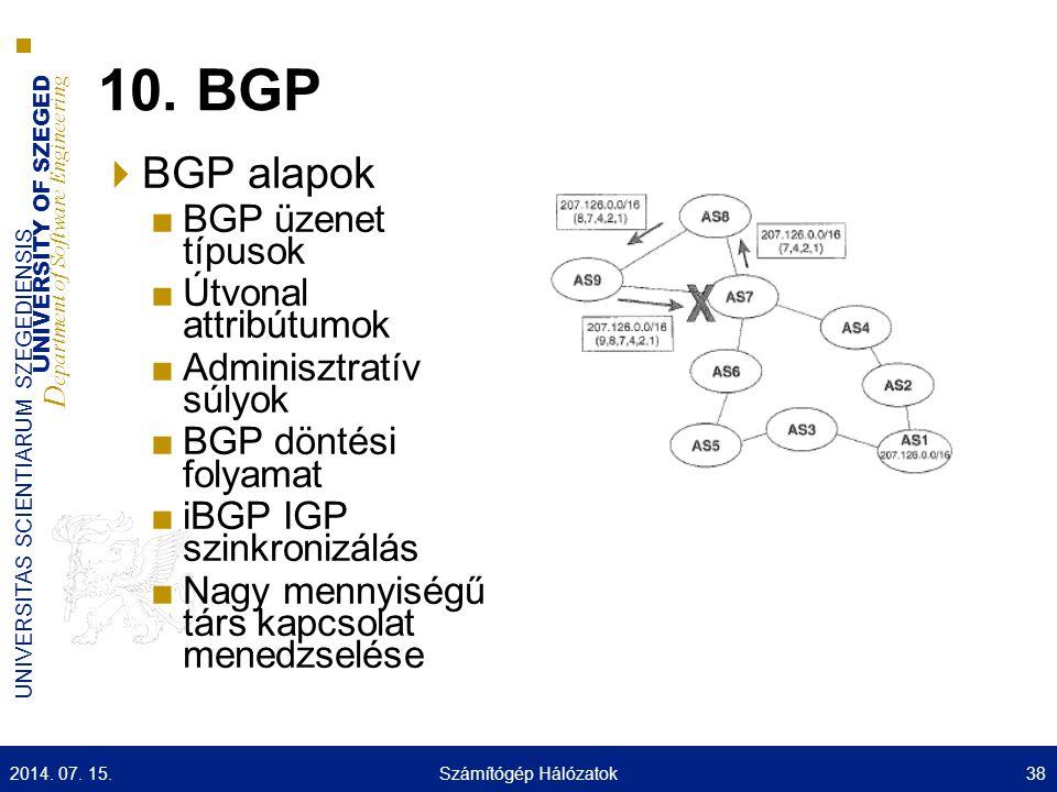 10. BGP BGP alapok BGP üzenet típusok Útvonal attribútumok